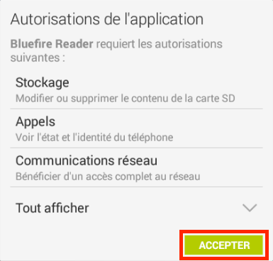 Capture d'écran Bluefire Reader accepter CGU