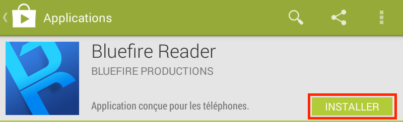 Cpature d'écran installer Bluefire Reader